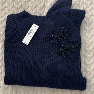 NWT J*Crew navy cable knit sweater with appliqué
